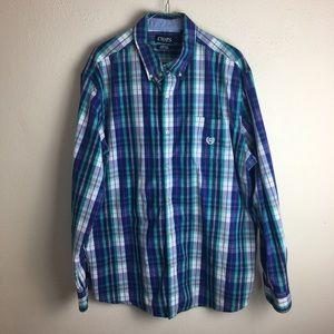 Chaps Easy Care Stretch Plaid Button Down Shirt 2X
